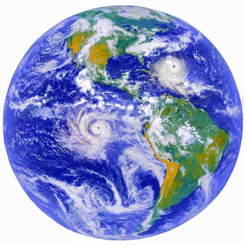 Aardeplaneet met reusachtige orkanen, collagebeeld vector illustratie