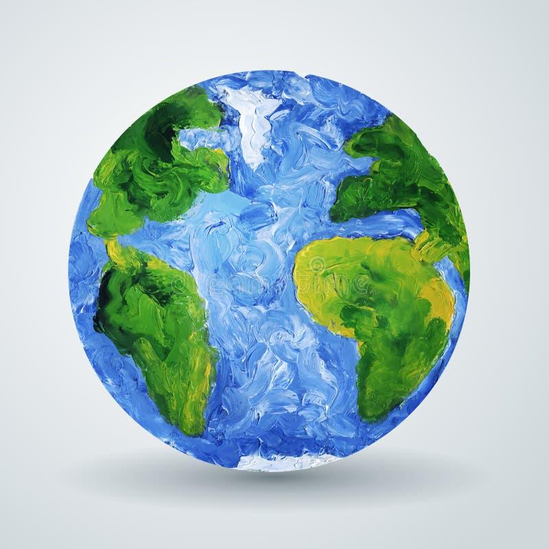 Aardeplaneet in olie wordt geschilderd die royalty-vrije illustratie