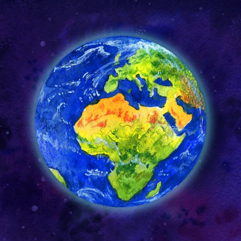Aardeplaneet in ruimtemening van Afrika en Europa - overhandig getrokken waterverfillustratie vector illustratie