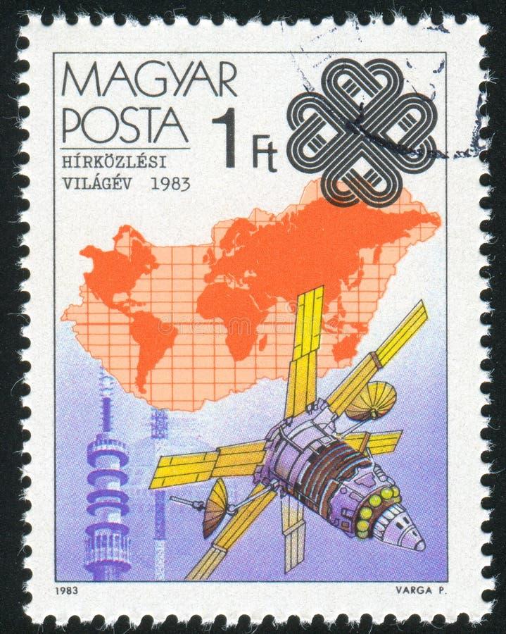 Aardesatelliet en Kaart stock foto