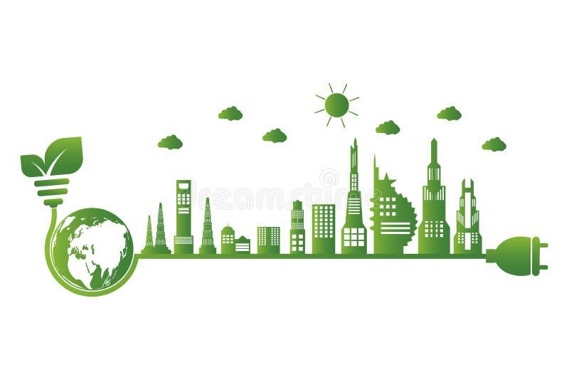 Aardesymbool met groene rond bladeren ecologie De groene steden helpen de wereld met milieuvriendelijke conceptenideeën royalty-vrije illustratie