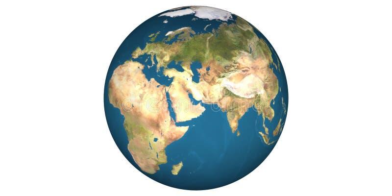 Aardewereld van ruimte ronde witte achtergrond royalty-vrije stock fotografie