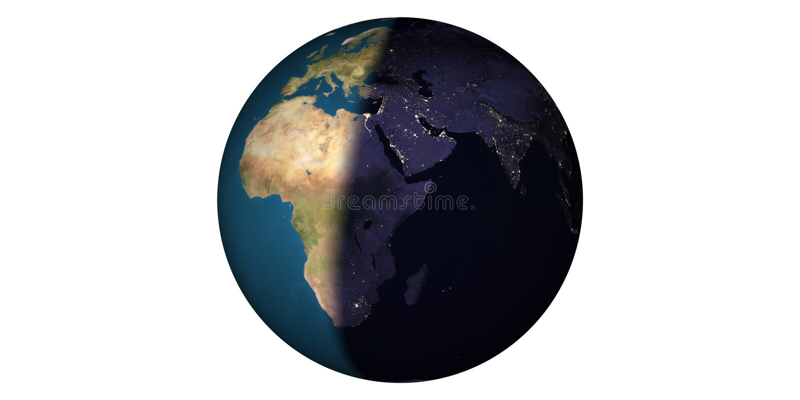 Aardewereld van ruimte ronde witte achtergrond stock fotografie