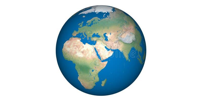 Aardewereld van ruimte ronde witte achtergrond stock afbeelding