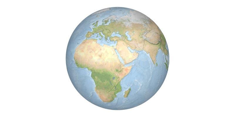 Aardewereld van ruimte ronde witte achtergrond stock afbeeldingen