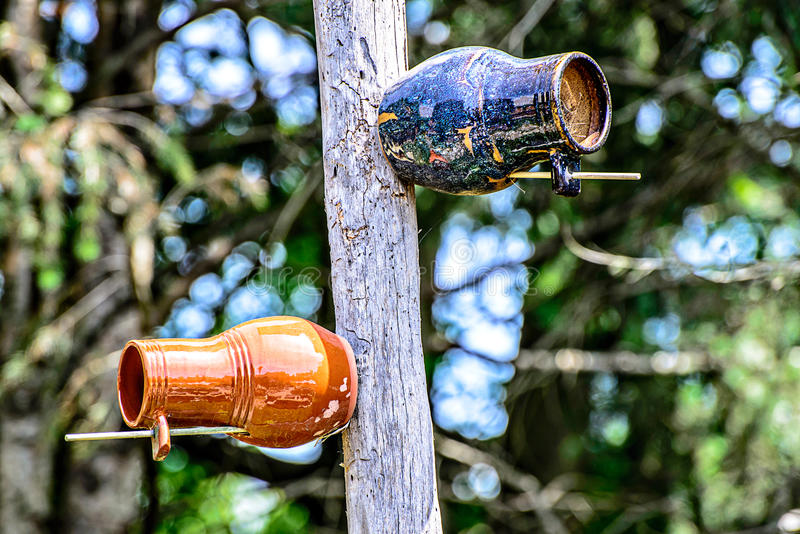 Aardewerk Clay Birdhouses stock foto