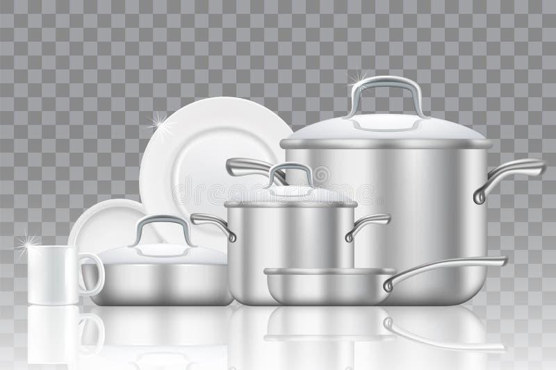 Aardewerk en cookware realistische vectorpictogramreeks vector illustratie