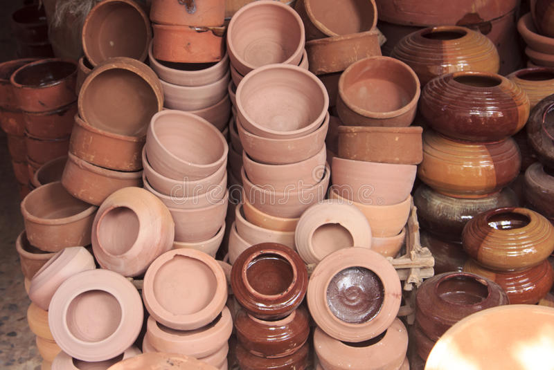 Aardewerk in kleine winkel, Egypte stock foto