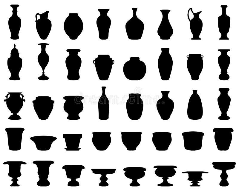aardewerk, kruiken, kommen, vazen stock illustratie