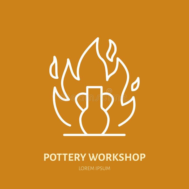 Aardewerkworkshop, de lijnpictogram van keramiekklassen De hulpmiddelenteken van de kleistudio De handbouw, het beeldhouwen het t royalty-vrije illustratie