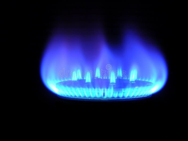 Aardgas, dat warm op een zwarte brengt royalty-vrije stock afbeelding