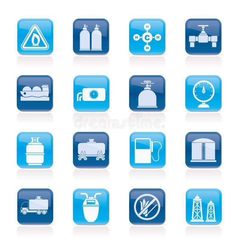 Aardgasvoorwerpen en pictogrammen stock illustratie