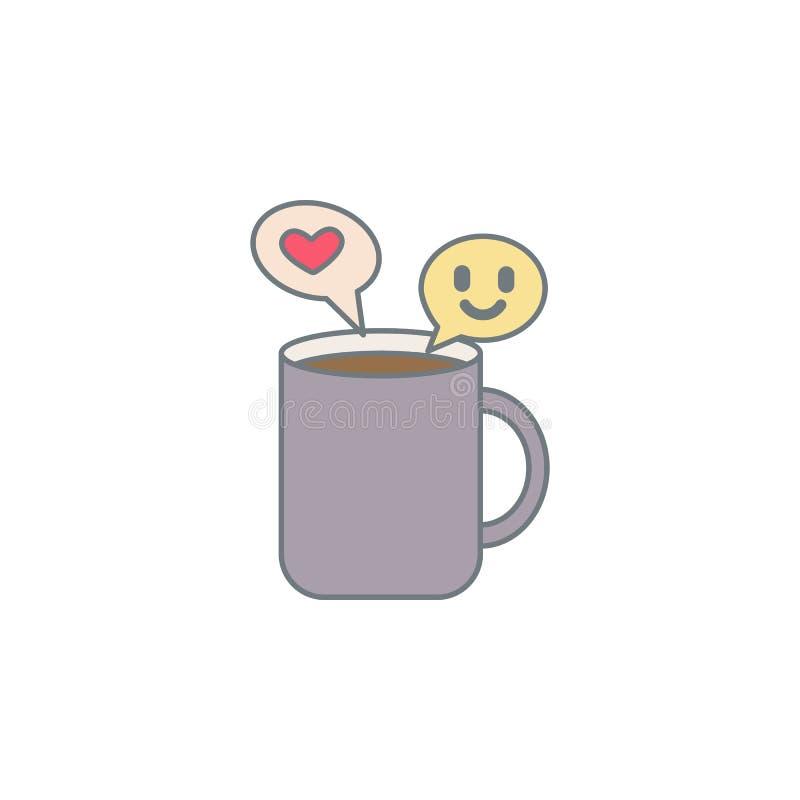 aardig gesprek voor koffie gekleurd pictogram Element van gekleurd koffiepictogram voor mobiel concept en Web apps Kleuren aardig vector illustratie