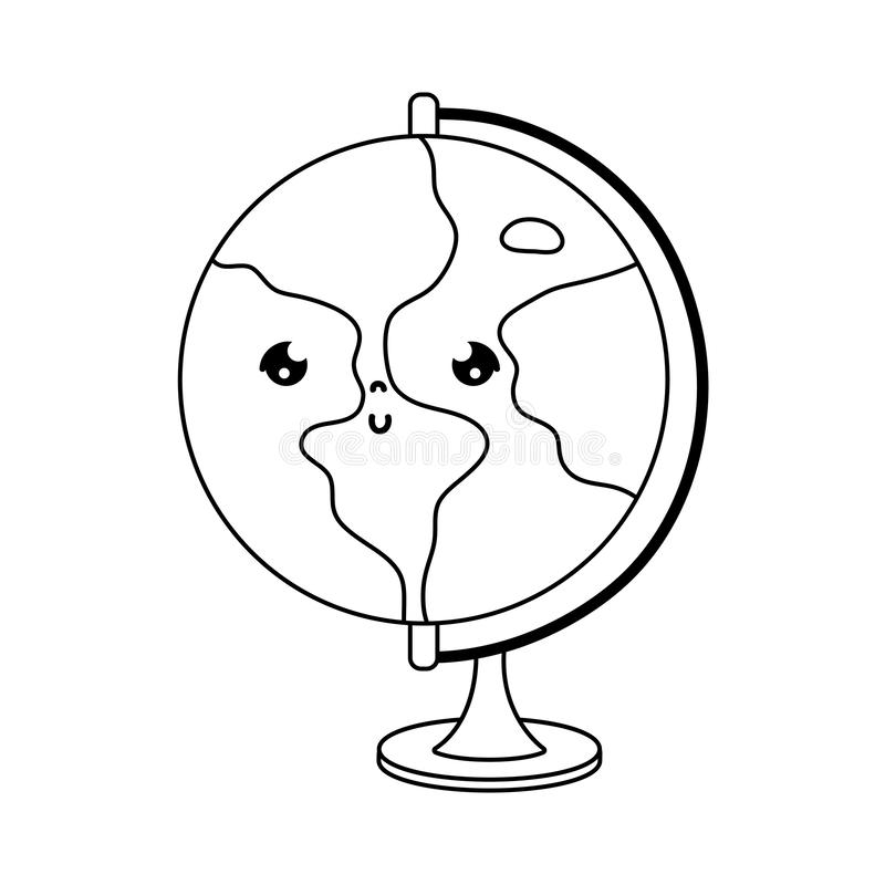 Aardig globaal de kaartbureau van lijnkawaii stock illustratie