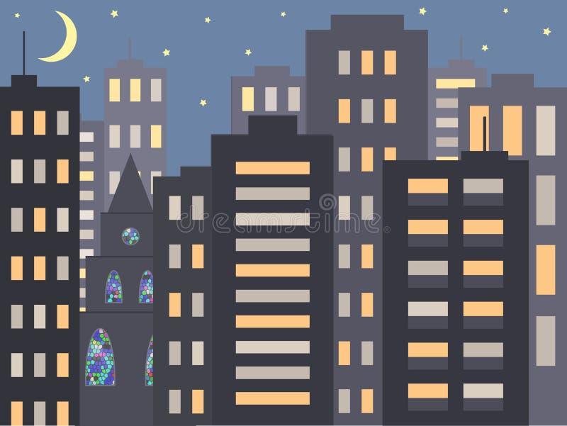 Aardige cityscape van de stadsnacht in de avond of bij nacht: moderne huizen, gebouwen en een Kerk of een Kathedraal met mozaïekv royalty-vrije illustratie