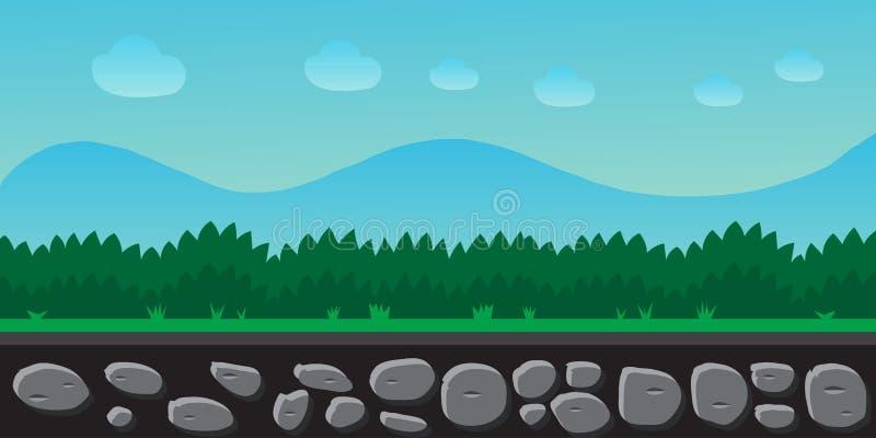 Aardlandschap, achtergrond voor spelen, bomen, bergen royalty-vrije illustratie