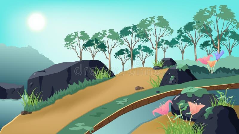 Aardlandschap, fantasie van de wildernis de bos, reizende affiche en van de van het achtergrond beeldverhaalconcept de vectorillu royalty-vrije illustratie
