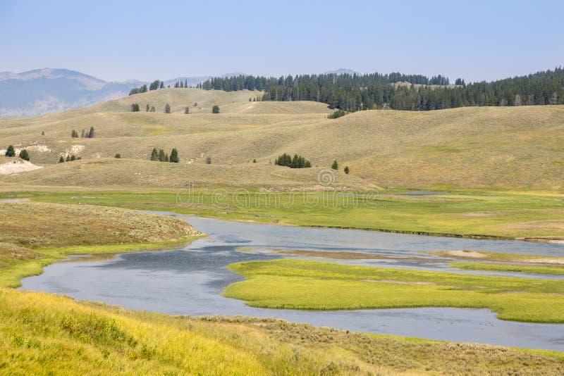Aardlandschap in Lamar Valley in het Nationale Park van Yellowstone op de zomer royalty-vrije stock afbeeldingen