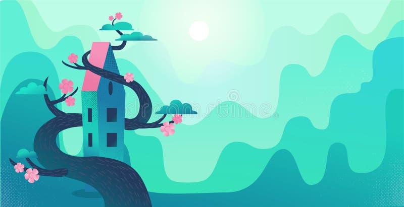 Aardlandschap met bergen, groene heuvels, lang die huis door boom wordt verdraaid De grote bloeiende boom verpakt het huis Het do stock illustratie