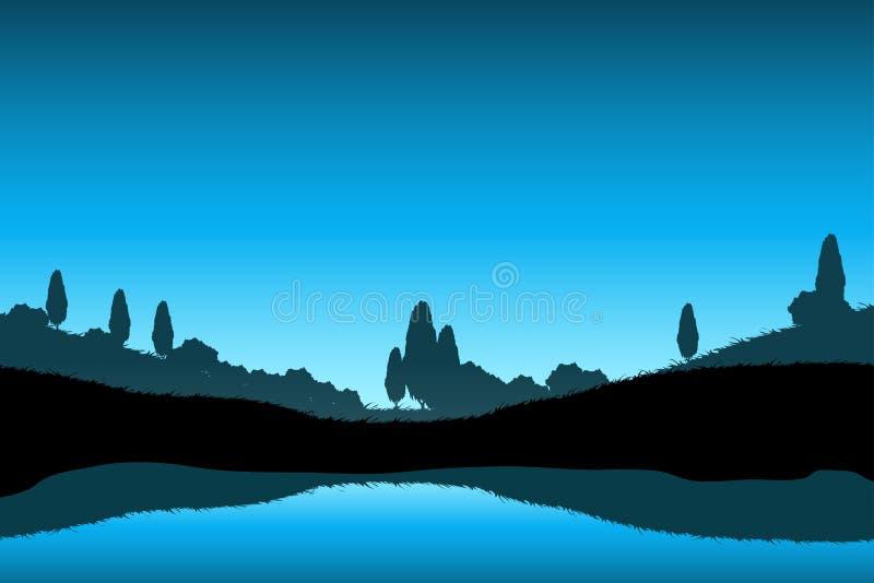 Aardlandschap met Bomensilhouet stock illustratie