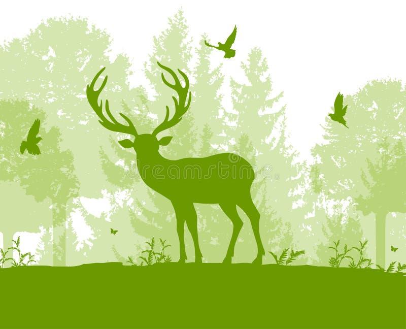 Aardlandschap met herten en groene boom royalty-vrije illustratie