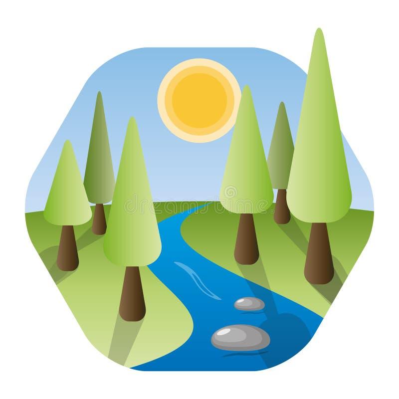 Aardlandschap met rivier, glanzende zon, en bomen royalty-vrije illustratie