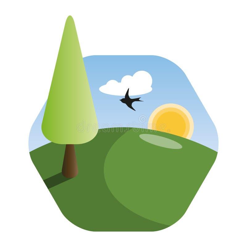 Aardlandschap met vliegende vogel in de ochtend vector illustratie