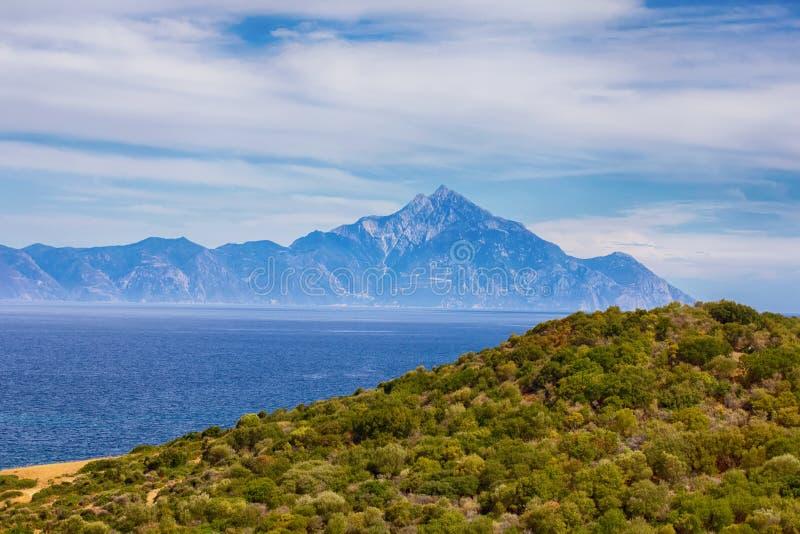 Aardlandschap van Heilige Berg Athos Greece royalty-vrije stock foto's