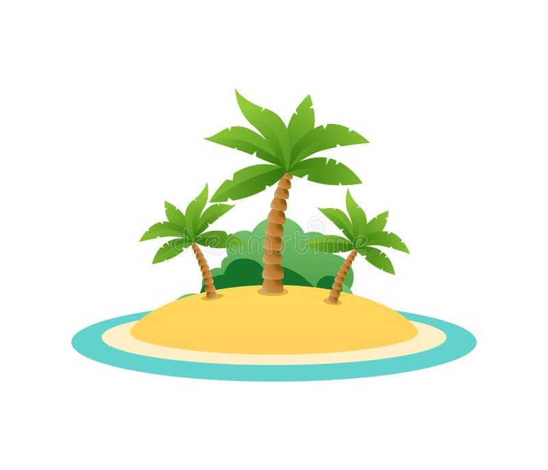 Aardlandschap van Tropisch Eiland met zandstrand stock illustratie