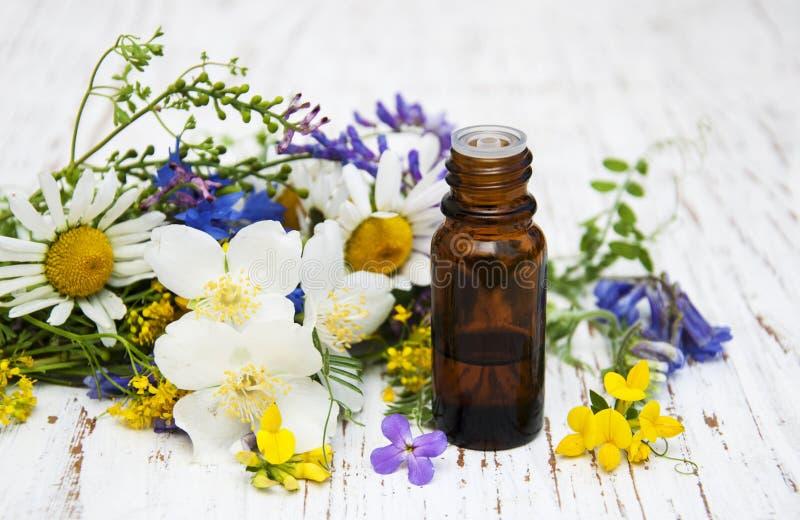 Aardolie met wildflowers stock fotografie