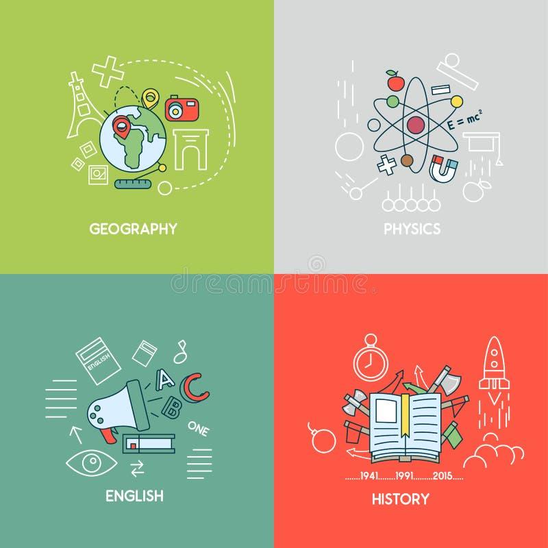 Aardrijkskunde, fysica, het Engels, de concepten van de geschiedenislijn royalty-vrije illustratie