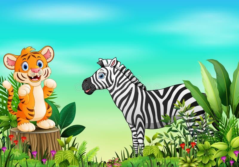 Aardscène met een tijger die zich op boomstomp en zebra bevinden royalty-vrije illustratie