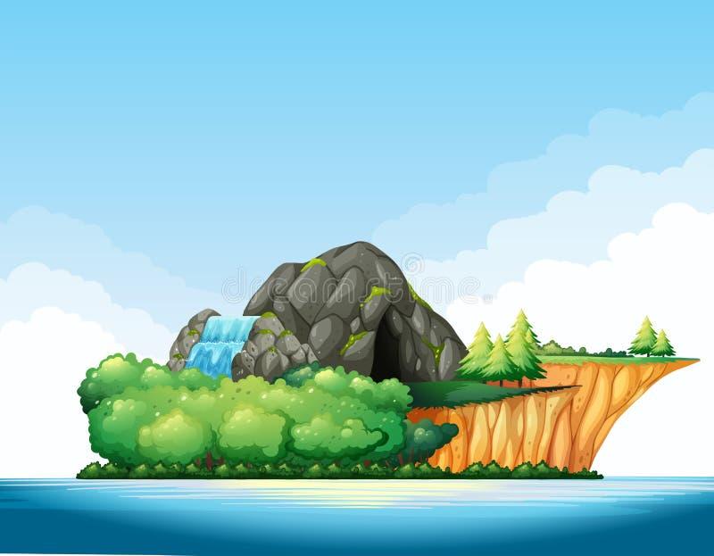 Aardscène met hol en waterval op het eiland vector illustratie