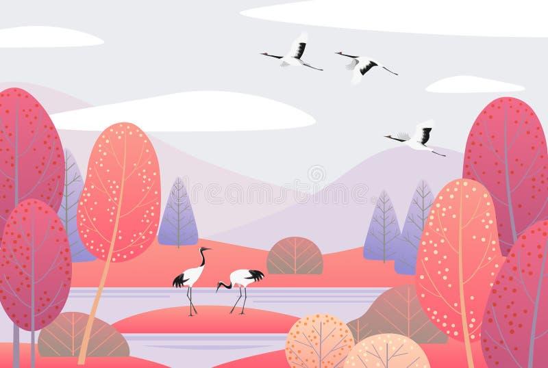 Aardscène met Japans Kranen en Autumn Trees vector illustratie