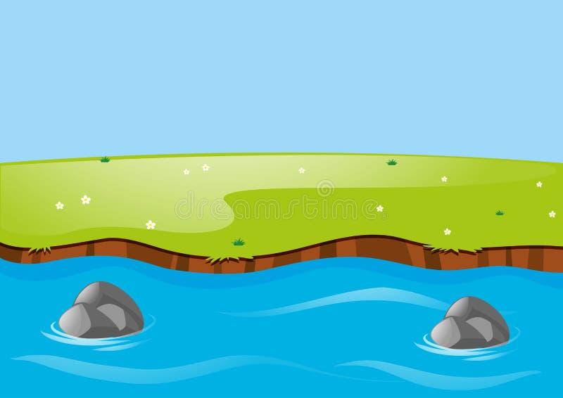 Aardscène met rivier en gebied stock illustratie