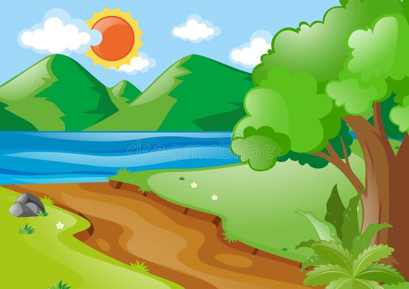 Aardscène met rivier en weg vector illustratie