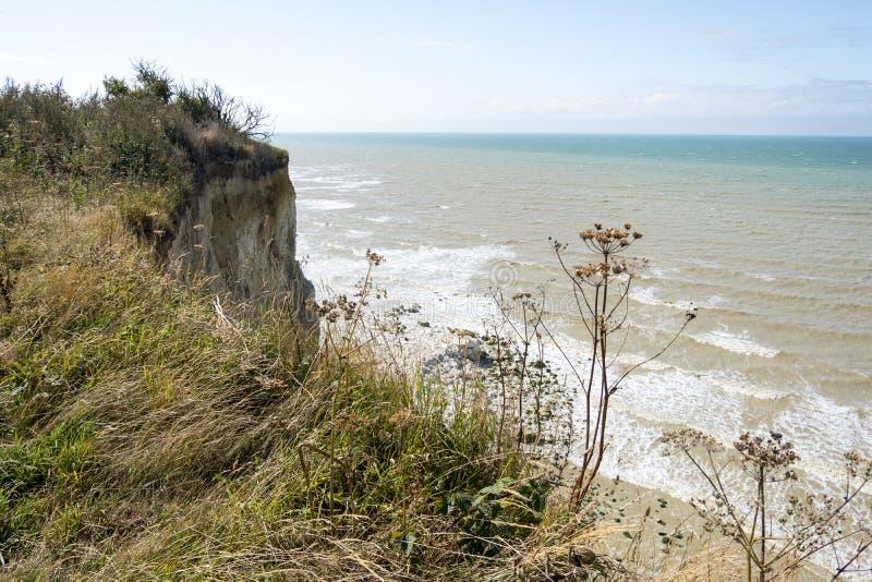 Aardscenics in Quiberville, het gebied van Normandië in noordelijk Frankrijk stock afbeelding