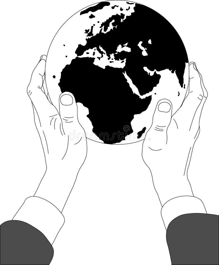 Aardse bol in handen vector illustratie