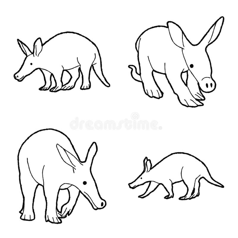 Aardvark Vector Illustration Hand Drawn Animal Cartoon Art. Aardvark Vector Pencil Illustration Hand Drawn Animal Cartoon Art stock illustration