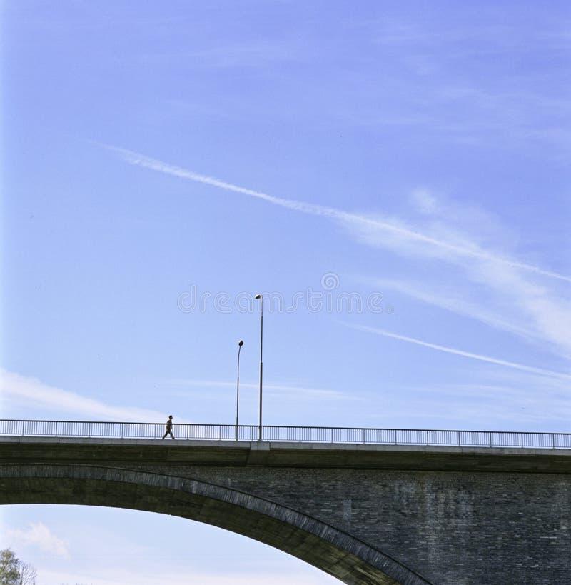 Aargau-Berichts-Schweizer Bezirk Baden High Bridge über dem Limmat-Fluss lizenzfreie stockfotos