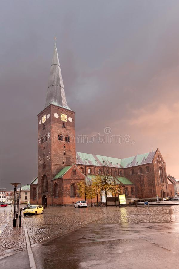 Aarhus Cathedral - Cathedral of Ã…rhus at dawn. Denmark. Aarhus Cathedral - Cathedral of Ã…rhus at dawn. The highest church in Denmark stock images