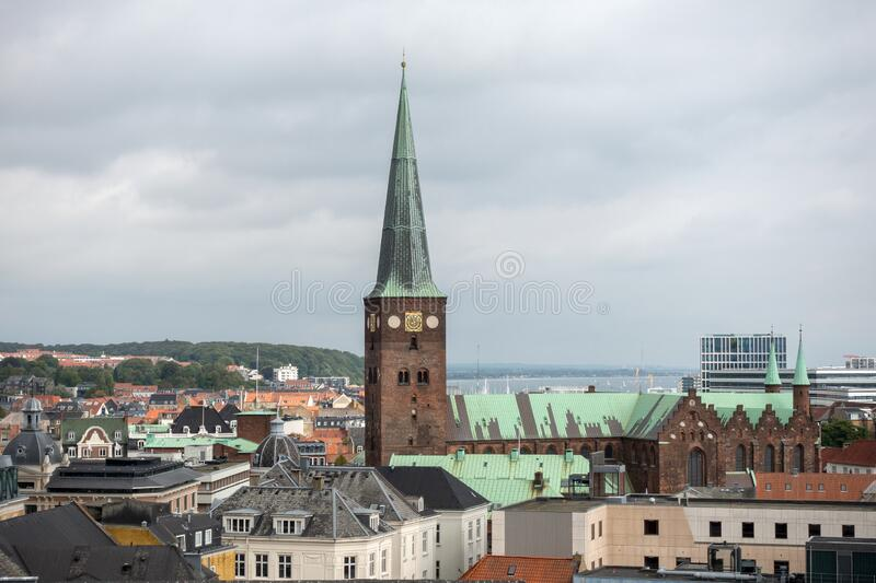Aarhus Cathedral In The City Centre Aarhus Demark Aerial View royalty free stock photography