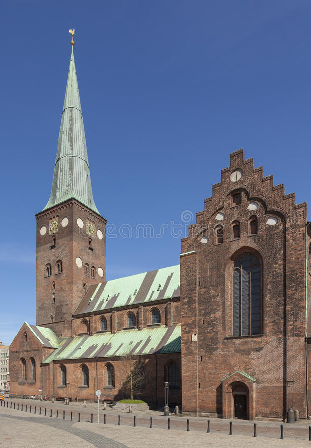 Aarhus Cathedral. 13th century Cathedral at Aarhus stock photo