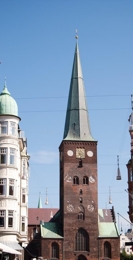 Aarhus church 02. Large church in the centre of Aarhus town in Denmark stock photos