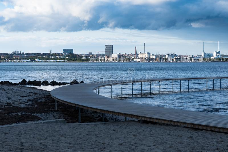 Aarhus city and harbour from the Infinity Bridge.  royalty free stock photos