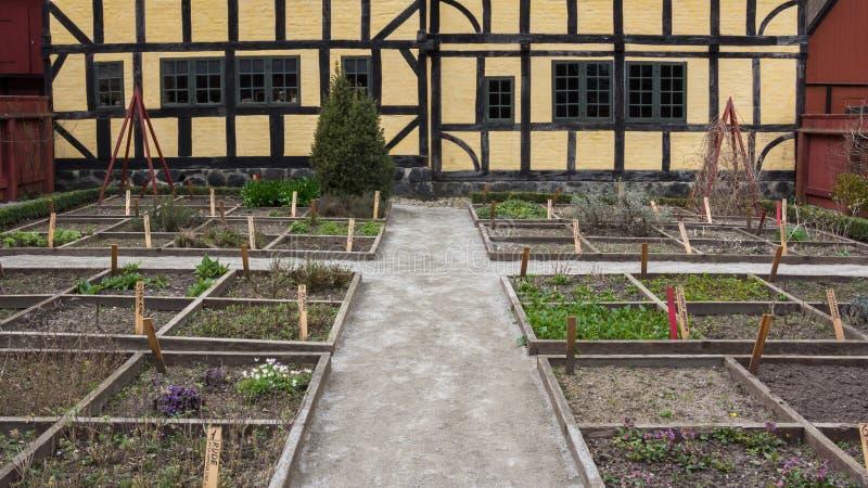 Aarhus, Denmark - April 12, 2015: Yellow timbered house royalty free stock photos