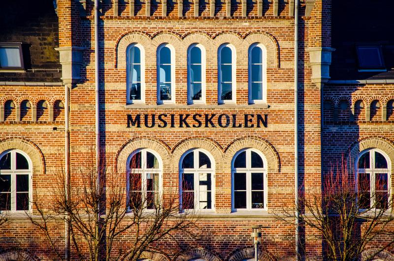 aarhus denmark city art music school stock photos