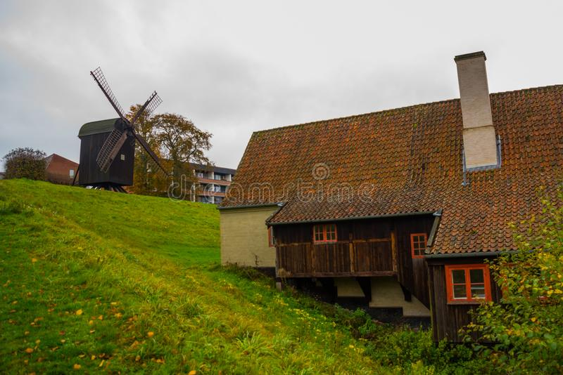 AARHUS, DENMARK: Old windmill near the botanical garden in Aarhus royalty free stock images