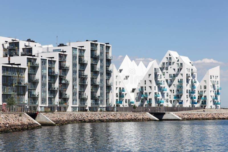 Aarhus harbor and seaside residences. In Denmark royalty free stock photos