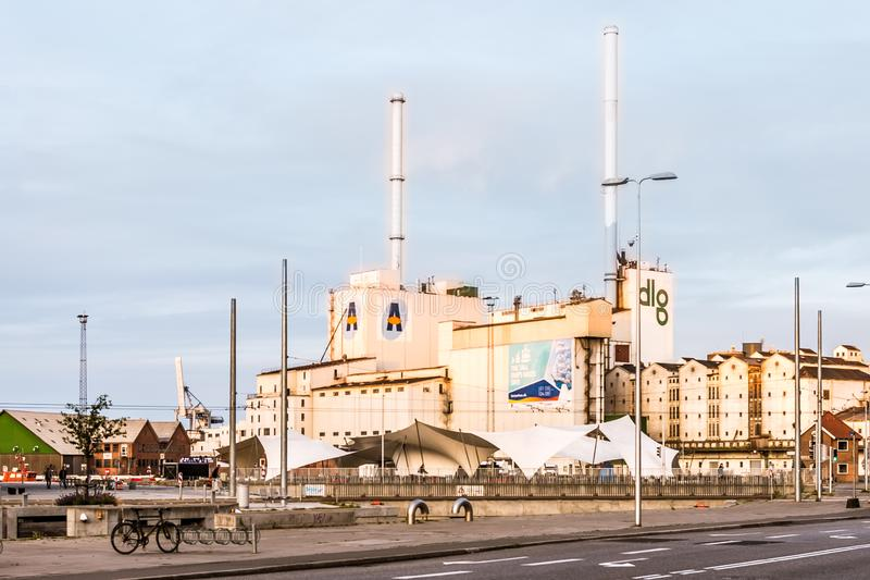 Aarhus harbour and the DLG Silo for store of grain at the Europaplads stock image
